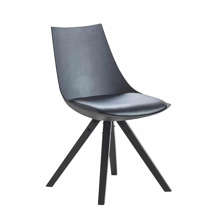 Chaise de salle à manger design en PU noir (lot de 2) Sabrina