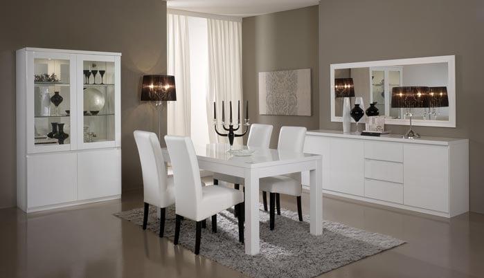 Salle à manger complète design laquée blanche Cristal
