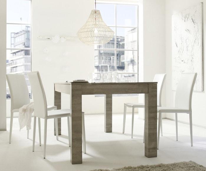 Table de salle à manger contemporaine chêne gris Nessie