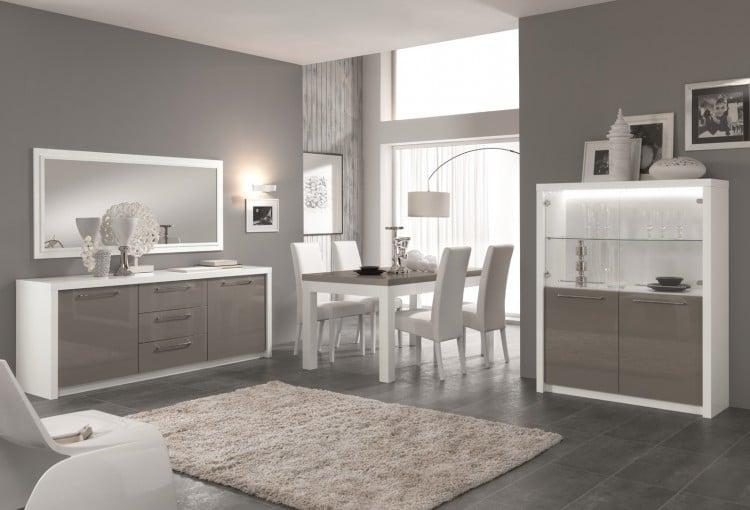 Salle à manger design laquée blanc/gris Agadir