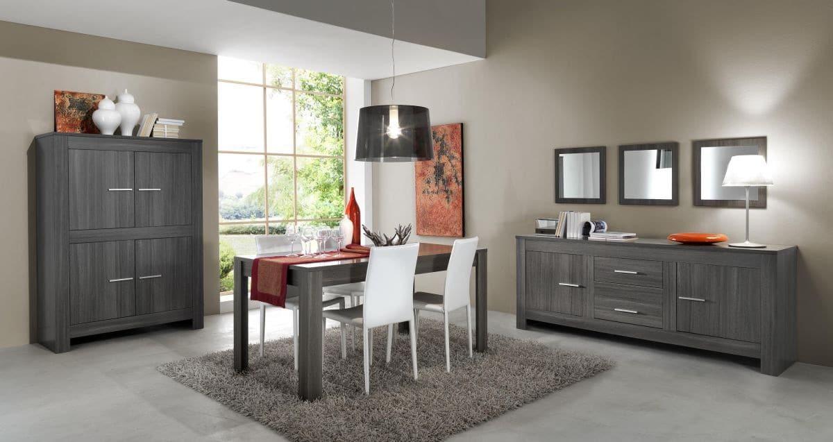 Salle à manger complète contemporaine coloris gris Fino