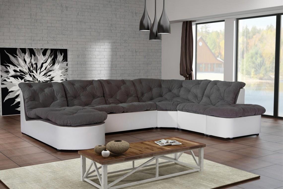 Canapé d'angle modulable en tissu gris/blanc Cordoba