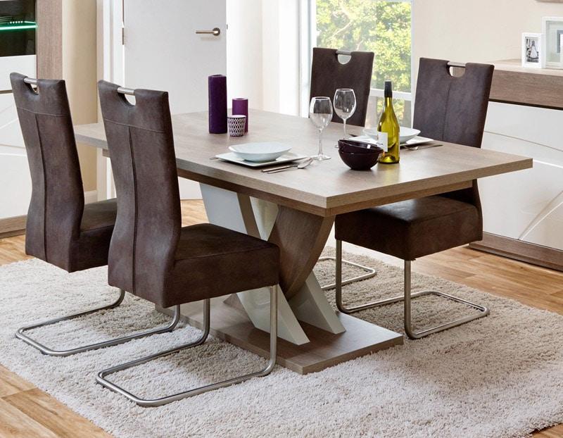 Table de salle à manger contemporaine extensible chêne gris/blanc laqué Jenawel