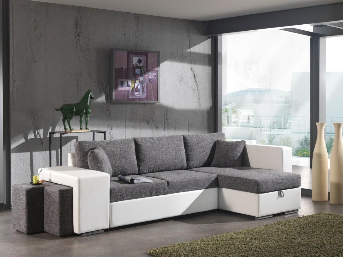 Canapé d'angle convertible en tissu