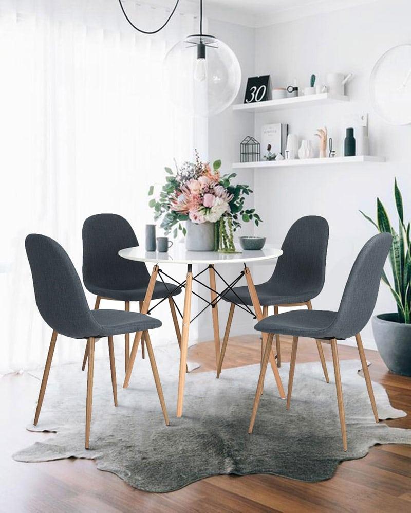 table-de-cuisine-design-ronde-chaises