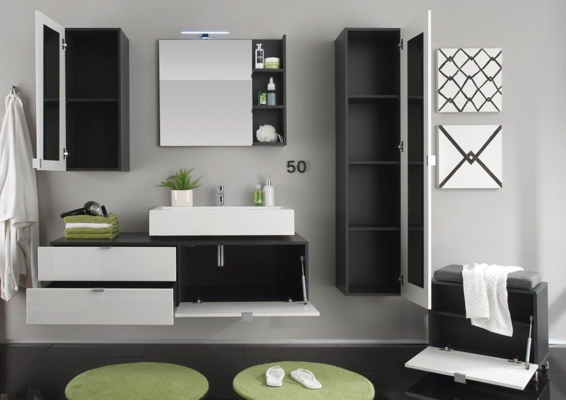 ensemble de salle de bain design noir et blanc