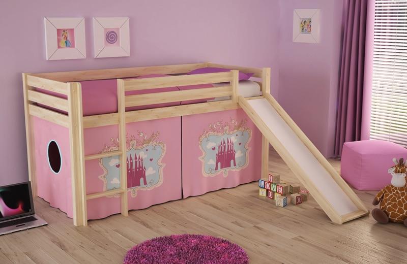 lit cabane mezzanine enfant avec toboggan