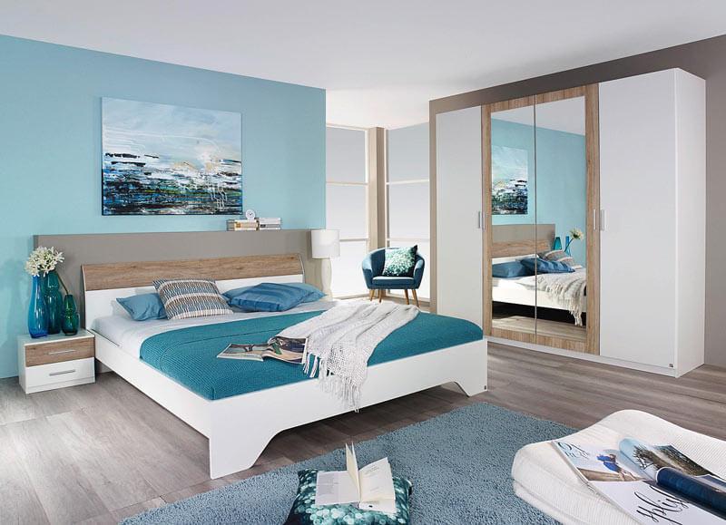 lit blanc chêne