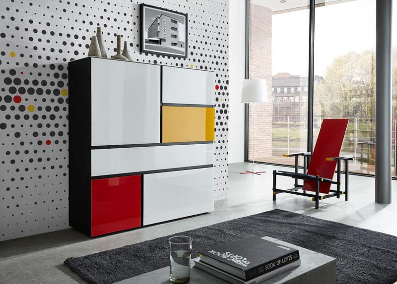 meuble de rangement design multicolore
