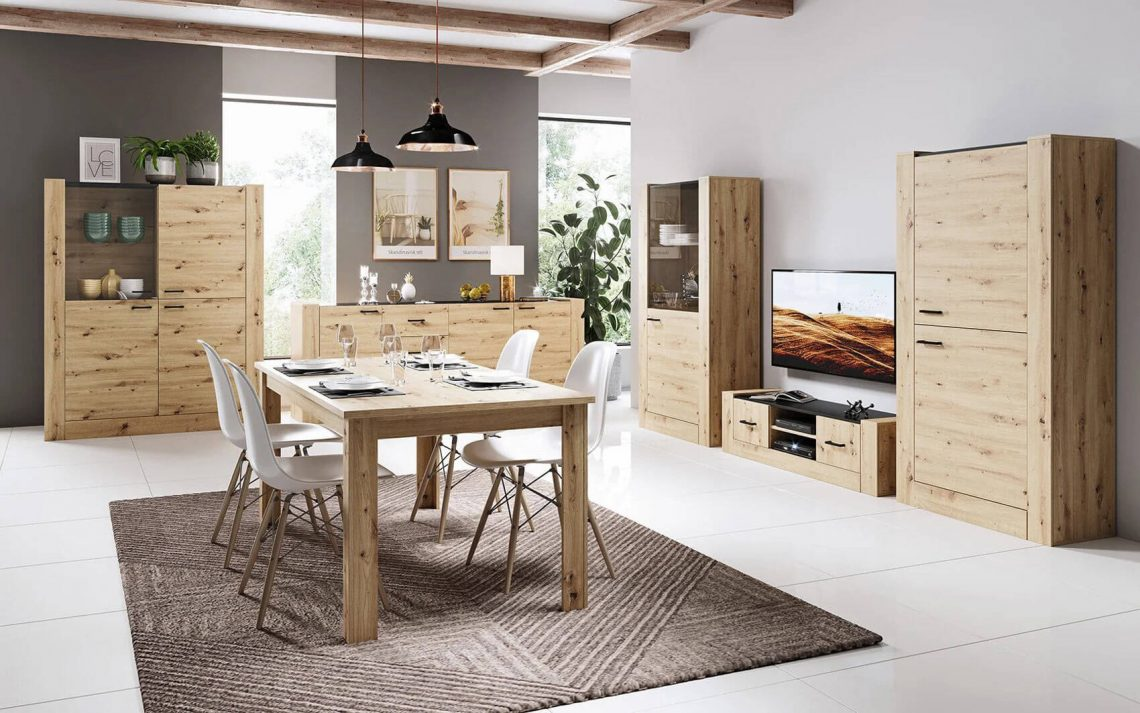 meubles de salon en chêne